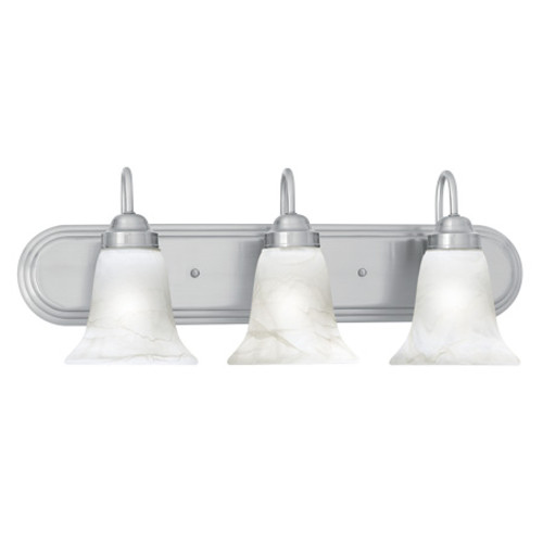 Wall Lights By Thomas Transitionally styled three-light bath fixture in Brushed Nickel finish with swirl alabaster style SL758378