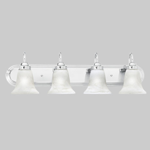 Wall Lights By Thomas Transitionally styled four-light bath fixture in Chrome finish with swirl alabaster style glass. SL75844