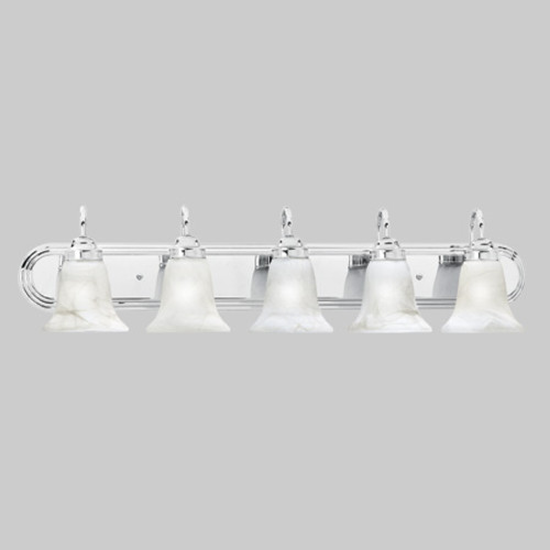 Wall Lights By Thomas Transitionally styled five-light bath fixture in Chrome finish with swirl alabaster style glass. SL75854