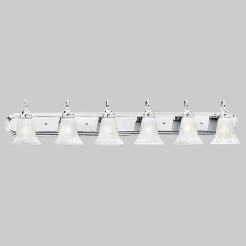 Wall Lights By Thomas Transitionally styled six-light bath fixture in Chrome finish with swirl alabaster style glass. SL75864