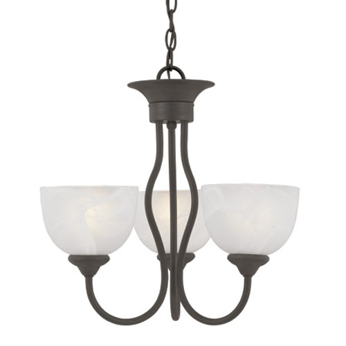 Chandeliers By Thomas Three-light chandelier in Painted Bronze finish with alabaster style glass shades SL801463