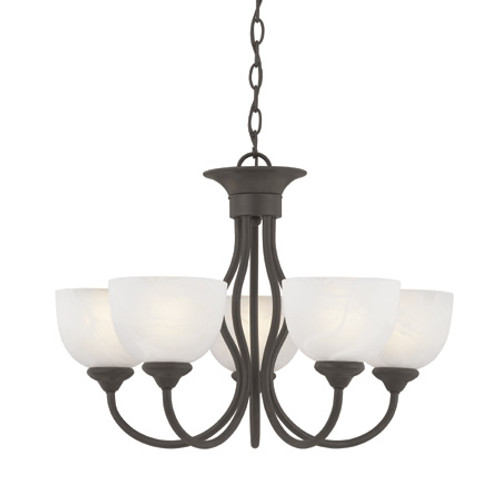 Chandeliers By Thomas Five-light chandelier in Brushed Nickel finish with alabaster style glass shades SL801578