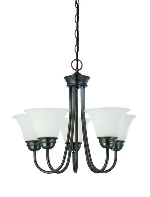 Chandeliers By Thomas Bella 19.5in Five-light chandelier in Oiled Bronze finish with etched glass. SL805115