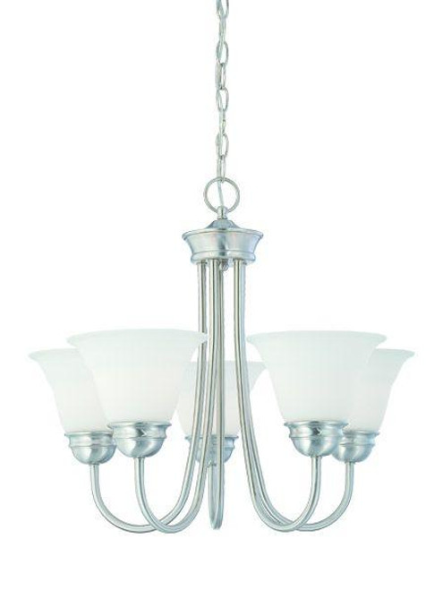Chandeliers By Thomas Bella 19.5in Five-light chandelier in Brushed Nickel finish with etched glass. SL805178