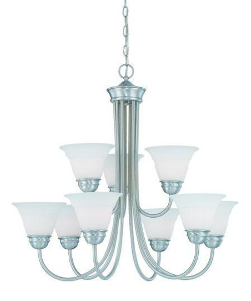 Chandeliers By Thomas Bella 28.5in Nine-light chandelier in Brushed Nickel finish with etched glass. SL805278
