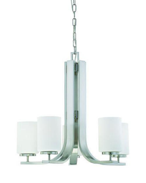 Chandeliers By Thomas Pendenza 22.25in Five-light chandelier in Brushed Nickel finish with etched glass. SL806778