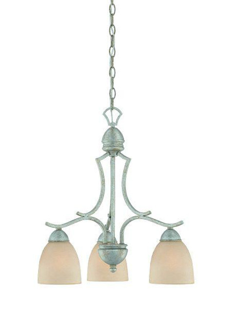 Chandeliers By Thomas Three-light chandelier in Moonlight Silver finish with tea stained glass. SL808172