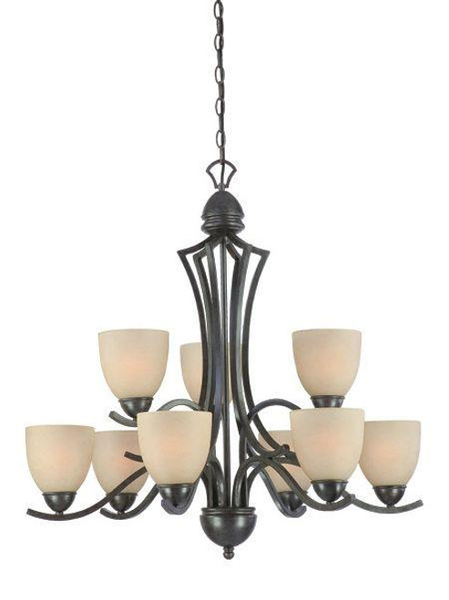 Chandeliers By Thomas Nine-light chandelier in Sable Bronze finish with tea stained glass. SL808322