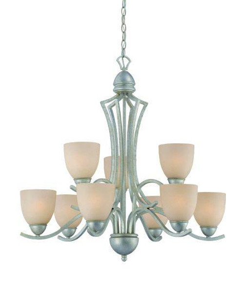Chandeliers By Thomas Nine-light chandelier in Moonlight Silver finish with tea stained glass. SL808372