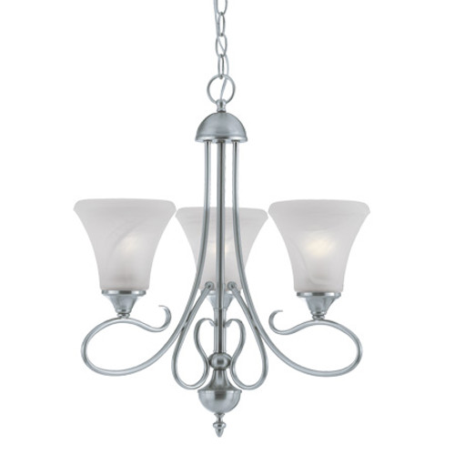 Chandeliers By Thomas Three-light chandelier in Brushed Nickel Finish with swirl alabaster style glass shades. SL811378