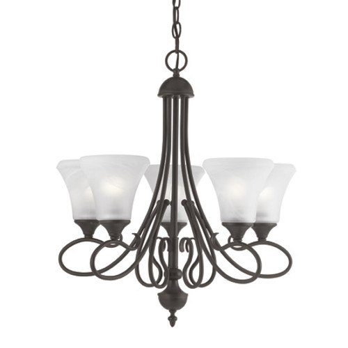 Chandeliers By Thomas Five-light chandelier in Painted Bronze Finish with swirl alabaster style glass shades. SL811563