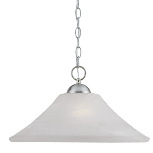 Chandeliers/Pendant Lights By Thomas One-light pendant in Brushed Nickel Finish with swirl alabaster style glass. SL820078