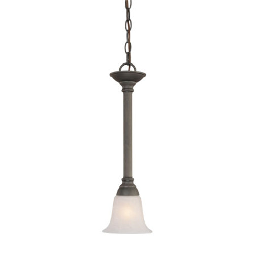 Chandeliers/Pendant Lights By Thomas One-light mini-pendant in Painted Bronze finish with etched swirl alabaster style glass. SL820663