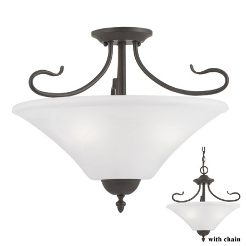 Chandeliers/Pendant Lights By Thomas Three-light semi-flush or pendant light in Painted Bronze Finish with a swirl alabaster style glass SL825363