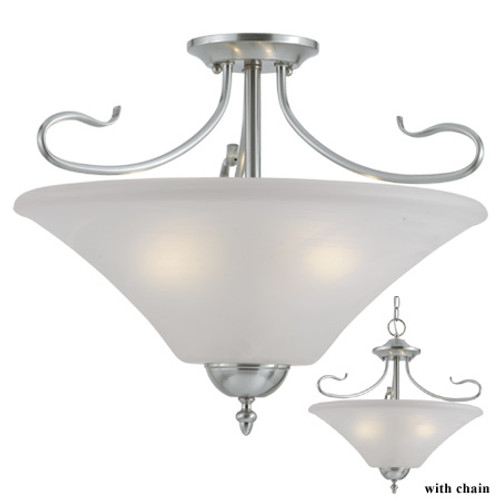 Chandeliers/Pendant Lights By Thomas Three-light semi-flush or pendant light in Brushed Nickel Finish with a swirl alabaster style glass SL825378