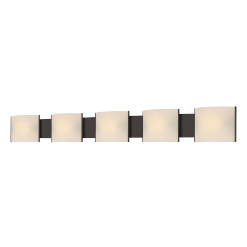 Wall Lights By Alico Pannelli 5 Light Vanity In Oil Rubbed Bronze And Hand-Molded White Opal Glass BV715-10-45