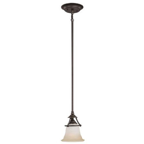Chandeliers/Pendant Lights By Thomas One-light mini-pendant in Aged Bronze finish with painted champagne marble glass. SL825662