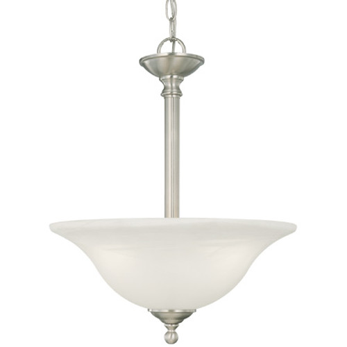 Chandeliers/Pendant Lights By Thomas Three-light pendant in Brushed Nickel finish with etched alabaster style glass. SL826678