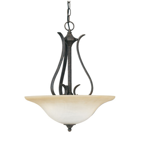 Chandeliers/Pendant Lights By Thomas PRESTIGE 22.75in Three-light pendant Oval tubing and swirl alabaster glass SL829222