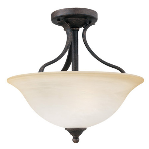 Ceiling Lights By Thomas PRESTIGE 13.75in Two-light ceiling semi-flush fixture Oval tubing and swirl alabaster glass SL842022