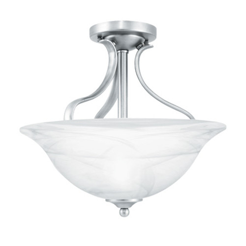 Ceiling Lights By Thomas PRESTIGE 13.75in Two-light ceiling semi-flush fixture Oval tubing and swirl alabaster glass SL842078