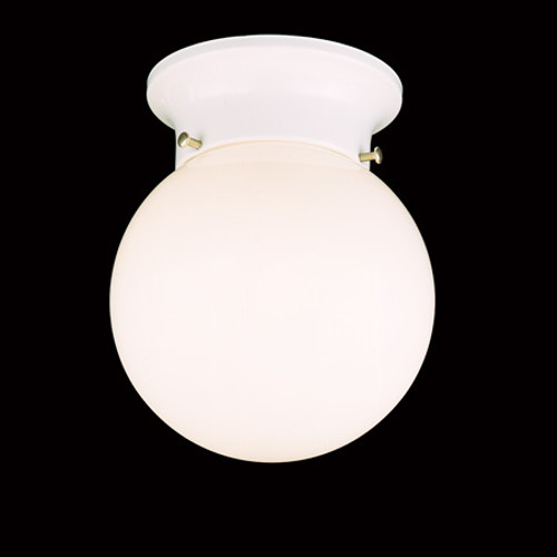 Ceiling Lights By Thomas One-light ceiling fixture with white glass globe in a white finish. SL84368