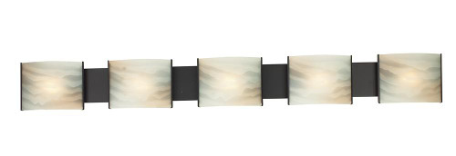 Wall Lights By Alico Pannelli 5 Light Vanity In Oil Rubbed Bronze And Hand-Molded Honey Alabaster Glass BV715-HM-45
