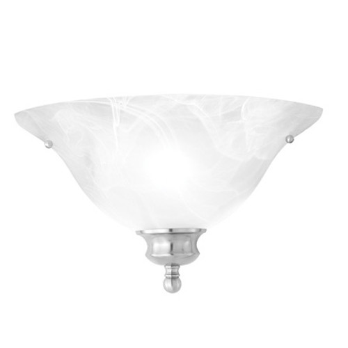 Wall Lights By Thomas One-light ADA compliant wall sconce in Brushed Nickel finish with alabaster style glass. SL853178