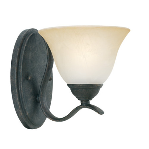 Wall Lights By Thomas PRESTIGE 9in One-light wall sconce Oval tubing and swirl alabaster glass SL854122