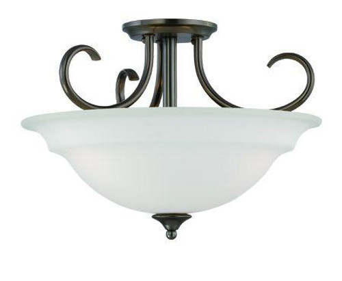 Ceiling Lights By Thomas Three-light ceiling semi-flush or pendant (convertible) in Oiled Bronze finish with etched glass. SL860715
