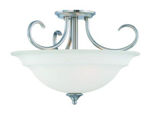 Ceiling Lights By Thomas Three-light ceiling semi-flush or pendant (convertible) in Brushed Nickel finish with etched glass. SL860778