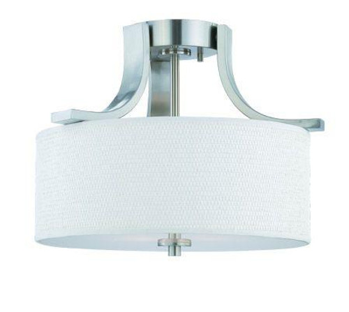 Ceiling Lights By Thomas Two-light semi-flush ceiling fixture in Brushed Nickel finish with white cotton weave fabric shade. SL860978