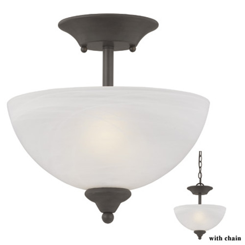Chandeliers/Pendant Lights By Thomas Two-light semi-flushmount or chain-hung fixture in Brushed Nickel finish with alabaster style glass SL861478