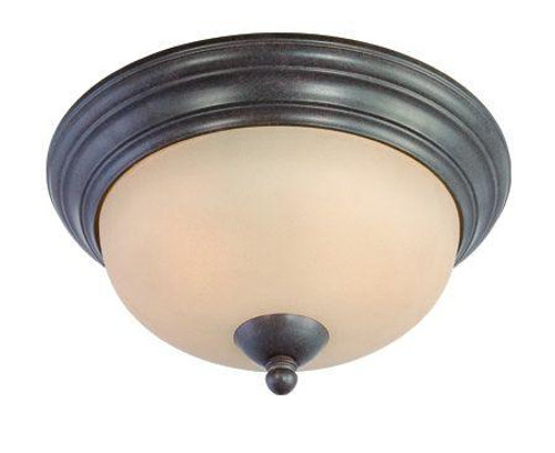Ceiling Lights By Thomas Two-light Flushmount in Sable Bronze finish with tea stained glass. SL861522