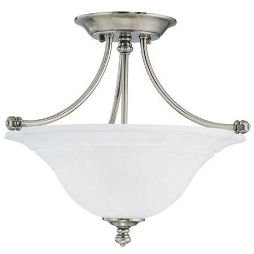 Ceiling Lights By Thomas Two-light semi-flushmount fixture in Satin Pewter finish with painted white marble glass. SL866241