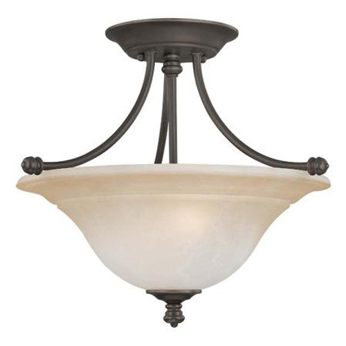 Ceiling Lights By Thomas Two-light semi-flushmount fixture in Aged Bronze finish with painted champagne marble glass. SL866262