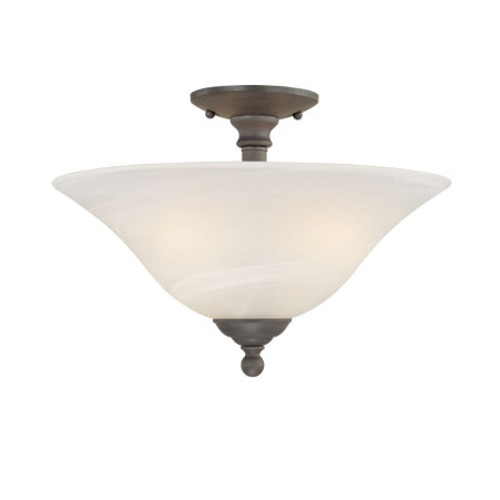 Ceiling Lights By Thomas Three-light semi-flushmount in Painted Bronze in etched alabaster style glass. SL869663