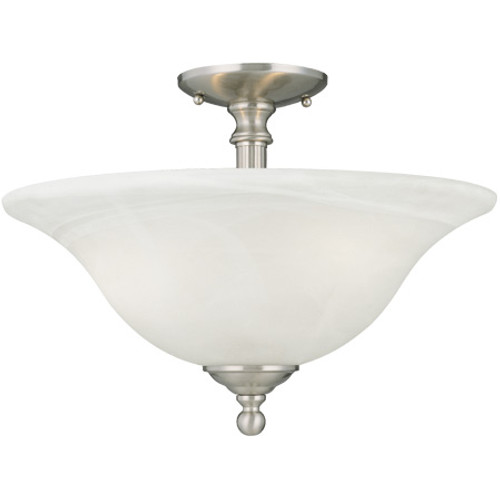 Ceiling Lights By Thomas Three-light semi-flushmount in Brushed Nickel in etched alabaster style glass. SL869678