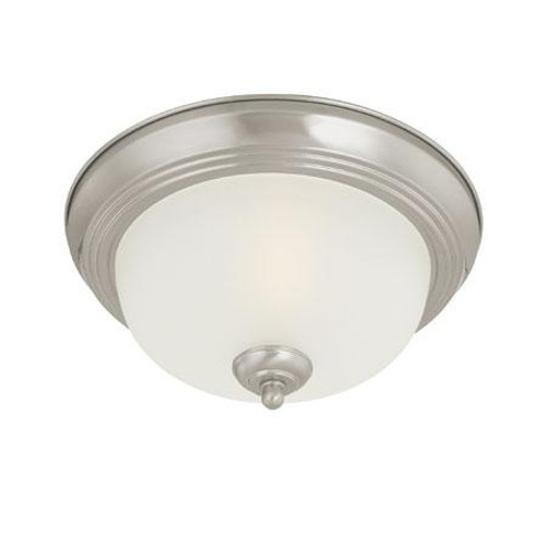 Ceiling Lights By Thomas Three-light ceiling flush mount in Brushed Nickel finish with etched glass. SL878378