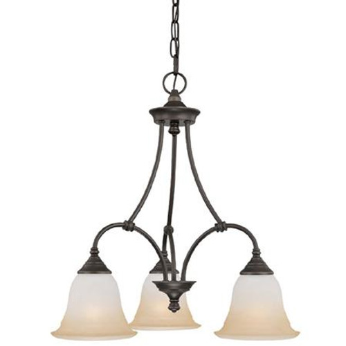 Chandeliers By Thomas Three-light chandelier in Aged Bronze finish with painted champagne marble glass. SL880362