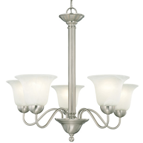 Chandeliers By Thomas Five-light chandelier in Brushed Nickel finish with etched alabaster style glass. SL881178