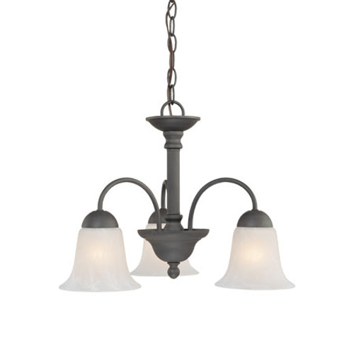 Chandeliers By Thomas Three-light chandelier in Painted Bronze finish with etched alabaster style glass. SL881263