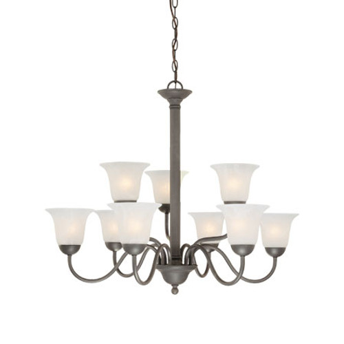 Chandeliers By Thomas Nine-light foyer/hall fixture in Painted Bronze finish with etched alabaster style glass. SL881363