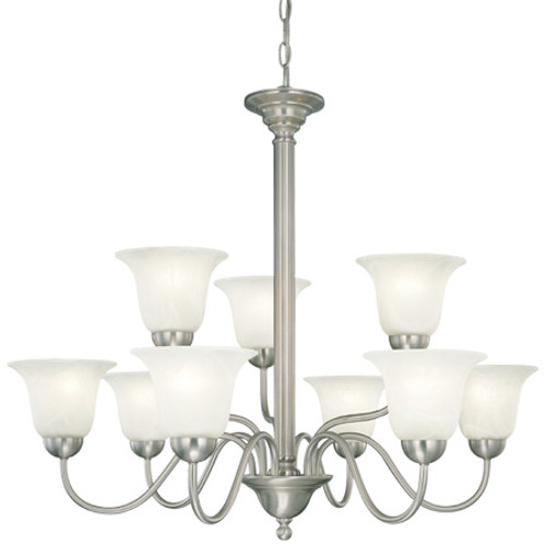 Chandeliers By Thomas Nine-light foyer/hall fixture in Brushed Nickel finish with etched alabaster style glass. SL881378