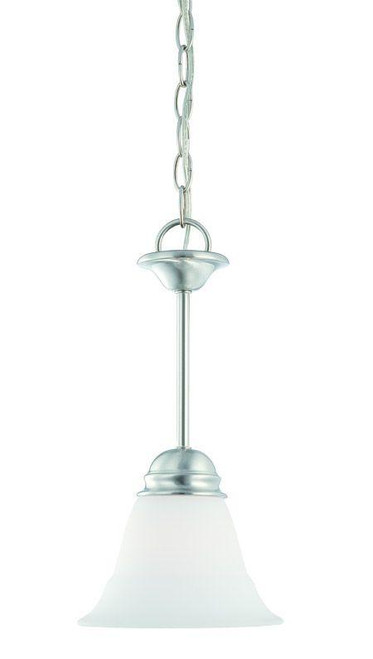 Chandeliers/Pendant Lights By Thomas Bella 14.5in One-light mini-pendant in Brushed Nickel finish with etched glass SL891578