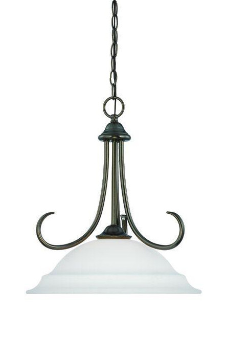 Chandeliers/Pendant Lights By Thomas Bella 18in One-light pendant in Oiled Bronze finish with etched glass SL891615
