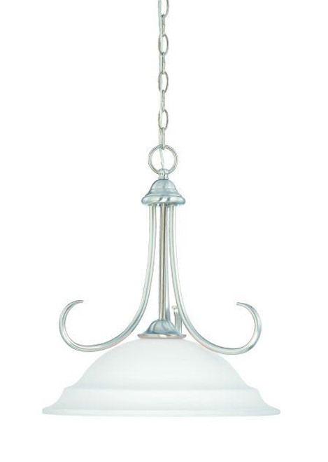 Chandeliers/Pendant Lights By Thomas Bella 18in One-light pendant in Brushed Nickel finish with etched glass SL891678
