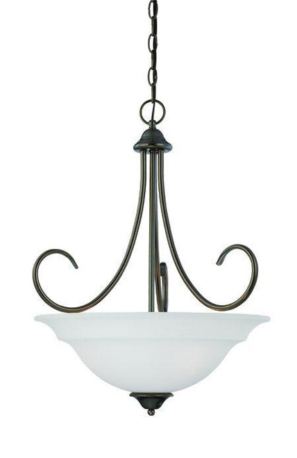 Chandeliers/Pendant Lights By Thomas Three-light pendant in Oiled Bronze finish with etched glass. SL891715