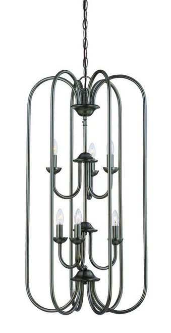Chandeliers By Thomas Six-light cage foyer pendant in Oiled Bronze finish. SL891815