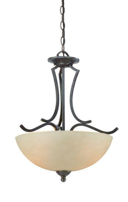 Chandeliers/Pendant Lights By Thomas Two-light pendant in Sable Bronze finish with tea stained glass. SL893522